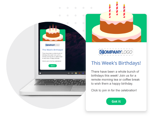 Employee birthday alert pop-up