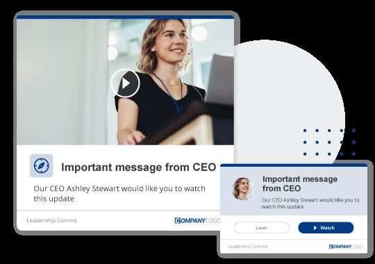 Desktop alert with CEO message