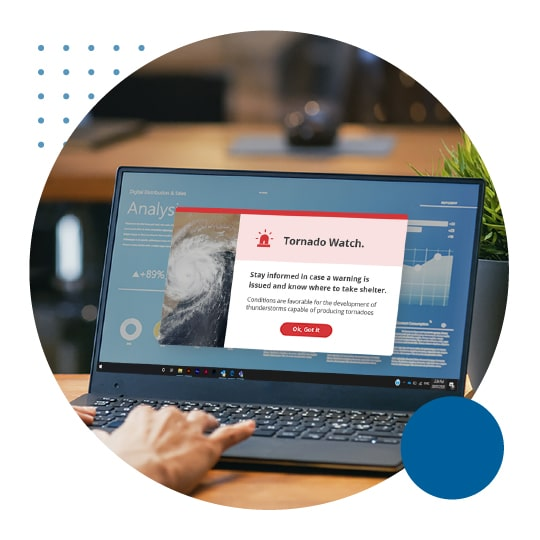 Desktop alert page tornado
