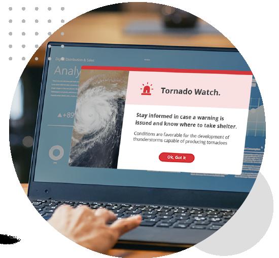 Severe weather desktop alert