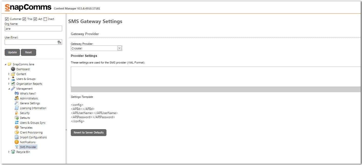 SMS settings