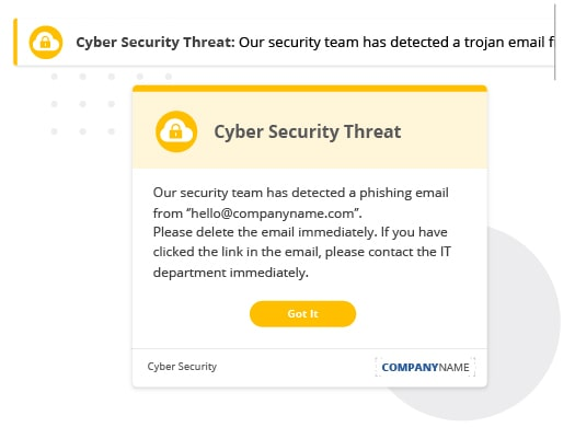 Cyber Security Threat communication example
