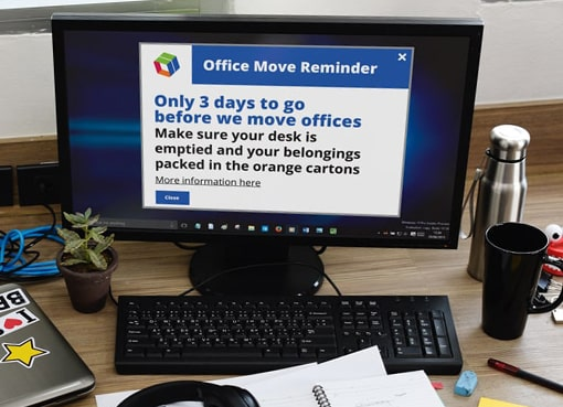Office move alert message on pc