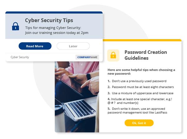 cyber security desktop alert notification messages
