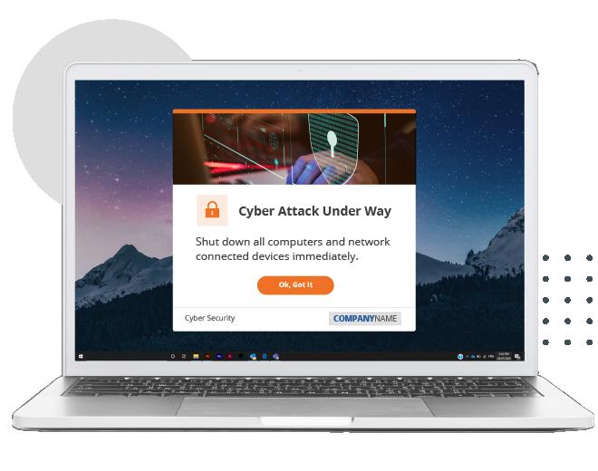 desktop alert pop-up notification on laptop