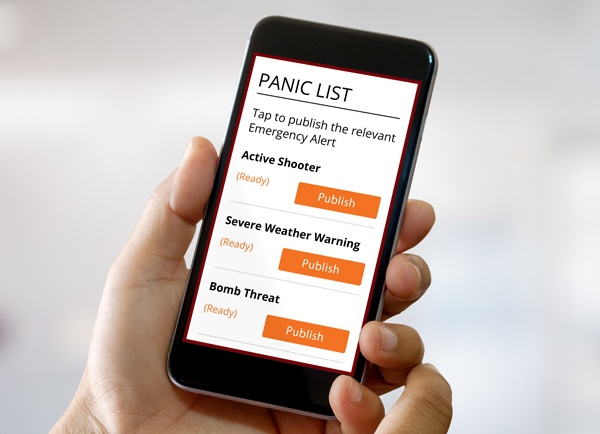 Panic Button list displayed on a mobile phone