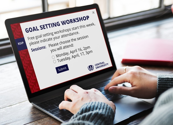 RSVP showing a goal setting workshop invitation