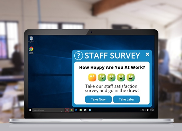 Staff Survey showing a staff satisfaction pop-up