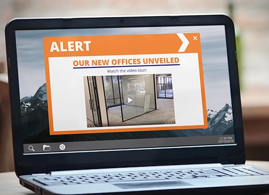 Office video tour alert message