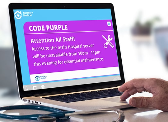 Code purple hospital alert showing on laptop