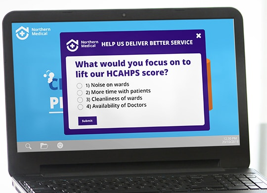 Survey displaying hcahps question on laptop