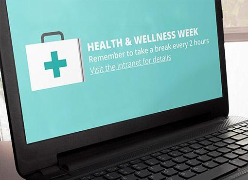 Health and wellness week screensaver on a laptop