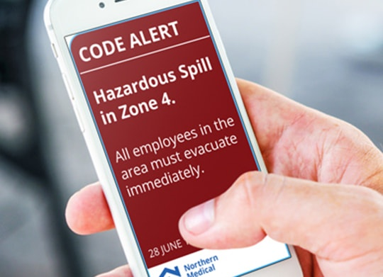 hospital code alert on mobile phone