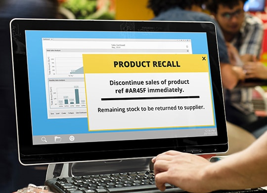 Product recall alert message