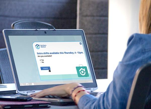 Woman viewing registration alert regarding shifts