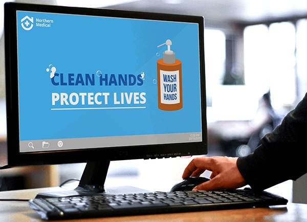 Wallpaper with hand hygiene example