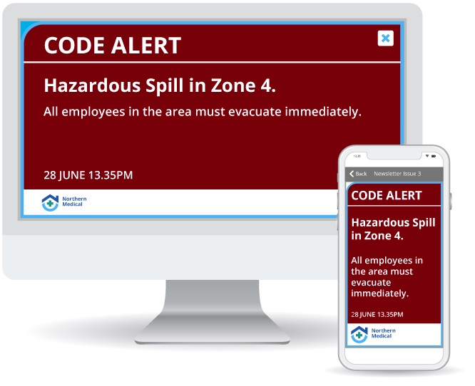 Emergency alert triggered by panic button showing hazardous spill warning