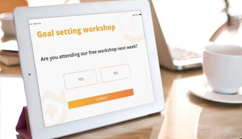 goal setting rsvp alert on tablet