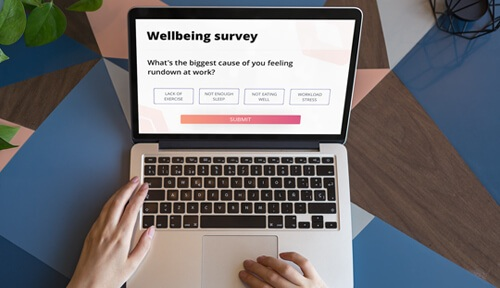 well being survey on laptop