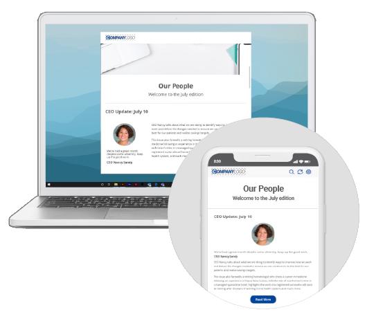 Internal newsletter desktop and mobile