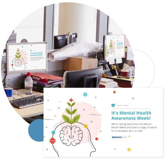 Mental health screensaver on desktops