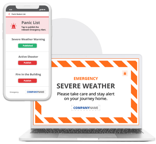 panic button pre-configured alert list on mobile and laptop alert